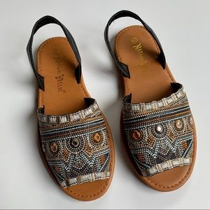 Nature Breeze | Slip on embroidered Sandals sz 8.5